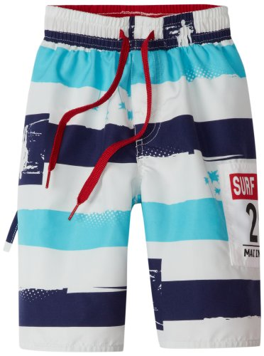 Wes and Willy Boys 2-7 Surfer Stripe Swim Trunk
