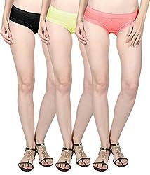 Vloria Soft Net Women Panties-Multi (Set Of 3) (M)