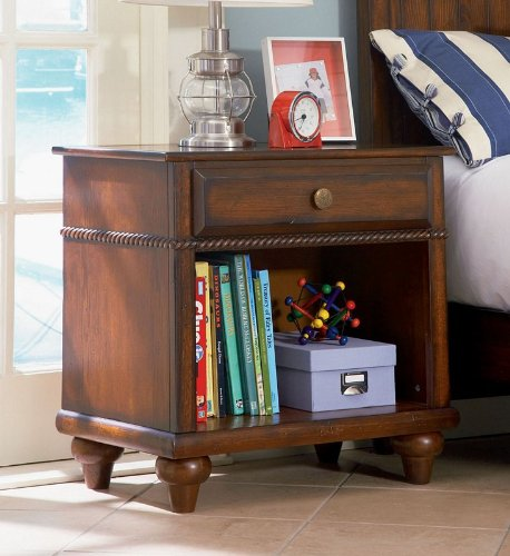 Cheap Kids Nightstand with Rope Design Trim in Antique Honey Brown Oak Finish (AZ00-46901×19483)