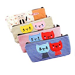 Set of 4,ilyever Large Capacity Pencil Case Cute Cat Canvas Cosmetic Pencil Holder Pouch Students Stationery