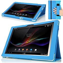MoKo Slim Cover Case for Sony Xperia Tablet Z 10.1 inch BLUE (with Smart Auto Sleep / Wake Feature Flip Stand and Integrated Elastic Hand Strap)