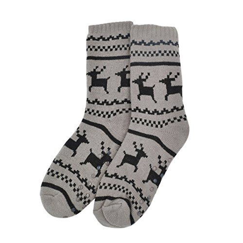Extra Thick Reindeer Non-Skid Thermal Fleece-lined Knitted Plush Socks, Taupe (Extra Thick Womens Socks compare prices)