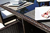Rectangle Rattan Dining Table with 6 Chair Furniture Set, Indoor and Outdoor Use (Brown)