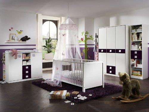Babyzimmer »EMMA« 6-tlg in alpinweiß - brombeer
