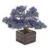 Random Artificial Potted Bonsai Tree with Purple Buds