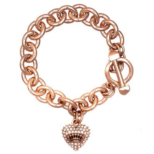 Juicy Couture Juicy Couture Iconic Pave Heart & Toggle Luxe Bracelet, Rose Gold