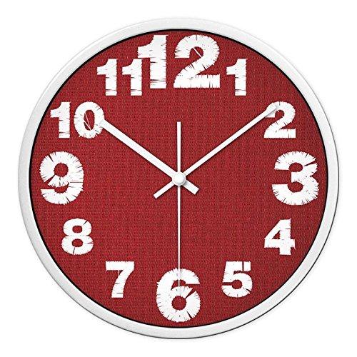 CC Timeon Moderno Letto King Size al quarzo Orologio a parete non scorre tranquilla Sweep orologi decorativi, rosso maglia, 12pollici, bianco