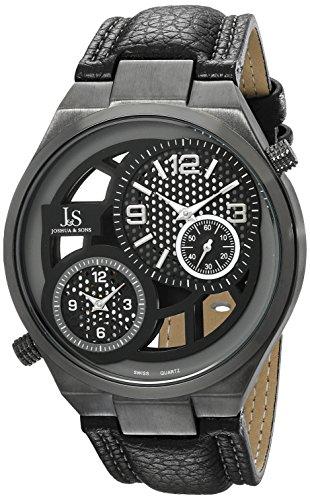 Joshua & Sons Men's 48mm Black Calfskin Metal Case Mineral Glass Watch JS83BK
