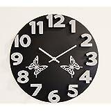 Basement Bazaar Plastic 3D With Butterfly Wall Clock (38.1cm X 38.1cm, Black)