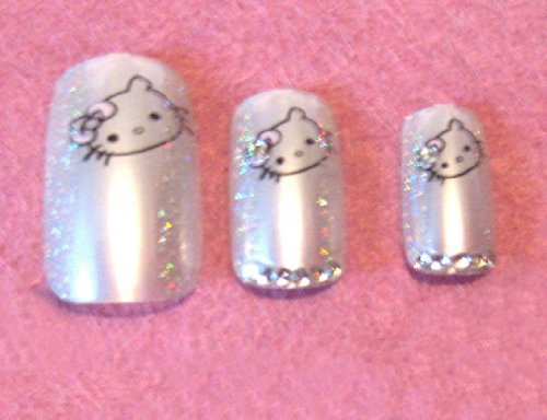 Nadeco Luxury Rhinestone Hello Kitty Artificial Nails - 24