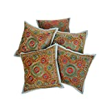 Rajrang Decorative Cotton Embroidery Sofa Cushion Cover 16 By 16 Set 5 Pcs