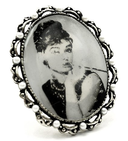 Vintage Breakfast at Tiffiany's Audrey Hepburn Photo Framed Fashion Ring on Adjustable Silver Tone Band
