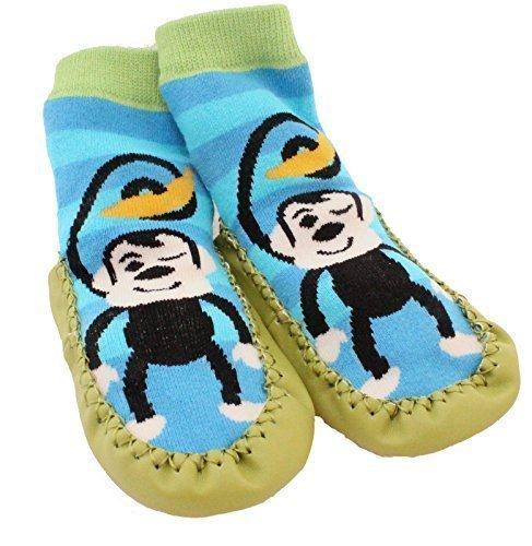 Per bambini Baby bambini per interni pantofole scarpe calze dei Mocassini NON antiscivolo strisce blu scimmia
