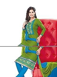 RK Fashion Womens Cotton Un-Stitched Salwar Suit Dupatta Material ( RAJGURU-PAHELI-9267-Green-Free Size )