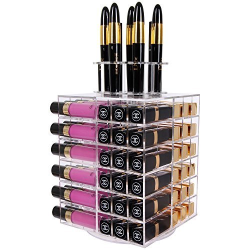 Langforth Porta Rossetti Organizzatore Espositore Cosmetici Lipgloss Acrilico 80 Scomparti con Base Rotante
