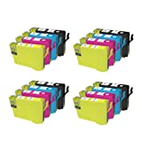 4x Sets of 4 T1295 (16x CARTRIDGES) Apple Multipack (4x T1291 Black, 4x T1292 Cyan, 4x T1293 Magenta, 4x T1294 Yellow) High Capacity Epson Compatible Ink Cartridges With Chip and Will Display Ink Levels.