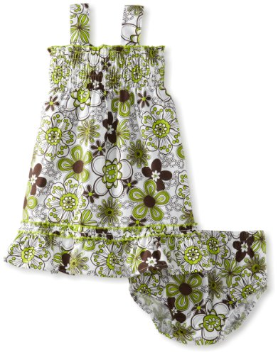 Lilybird Baby-Girls Infant Color Flower Print Dress, Green, 12 Months