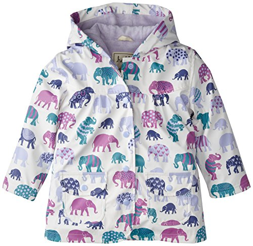 Hatley Little Girls' Girls' Raincoat - Patterned Elephants, Off White, 4 front-945524