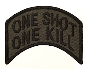 Ecusson / Patch Brode One Shot One Kill Kaki 1059 Airsoft Deco Sac Veste Trousse Blouson Casquette Casque