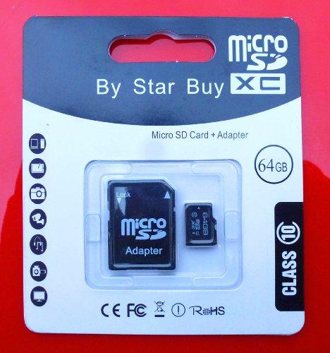 64GB Micro SDHC Class 10 Memory Card with SD Adaptor