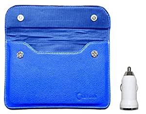 Chevron Pouch Cover Case for NXI FFMX Tablet with USB Car Charger (Blue)