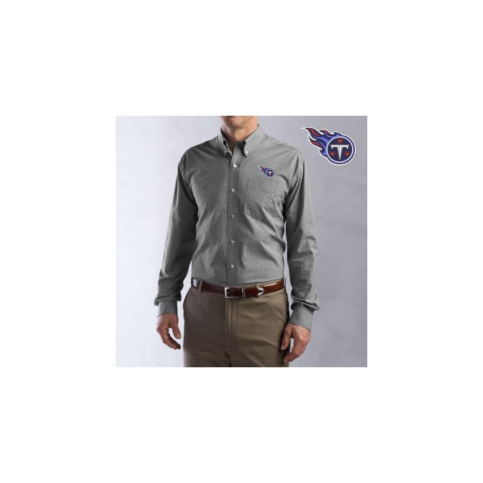 Cutter & Buck Tennessee Titans Mens Collegiate Check Woven Long Sleeve Shirt Small