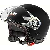 Mach1® Jethelm Motorradhelm schwarz Roller Scooter Helm Größe XS bis XXL mit durchsichtigem Visier