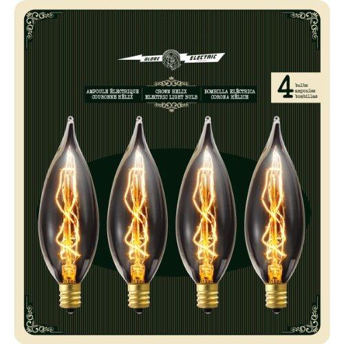 Globe Electric 25W Vintage Edison B10 Flame Tip Incandescent Filament Light Bulbs (4-Pack), Candelabra E12 Base 01327 1