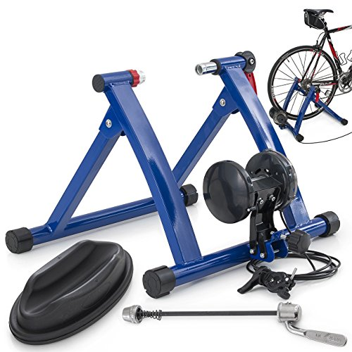 ARKSEN© Indoor Cycling Bicycle Magnetic Trainer W/ Seven Levels Of Resistance Exercise Stand - Blue
