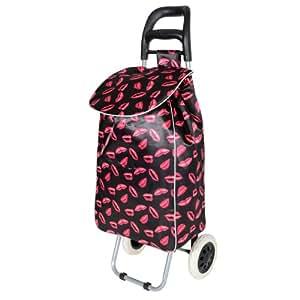 Lips Design Folding Lightweight Wheeled Funky Festival Shopping Trolley Bag New