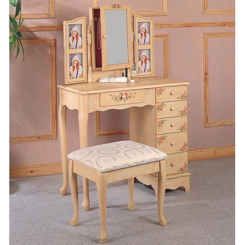 Coaster Queen Anne Style Vanity Table And Stool/Bench Set, Hand Painted front-915464