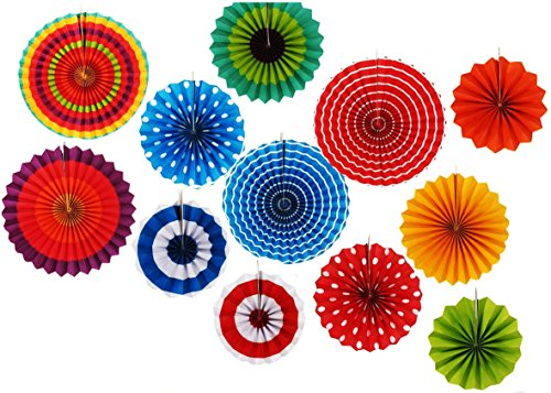 12 Paper Fan Set Mexican Fiesta/Patriotic/Wedding/Birthday/Baby Shower Party Supplies Decoration Rosettes Various Sizes (Mexican Fan Decorations compare prices)