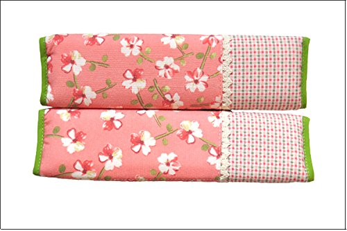 Rural Style Auto Car Seat Belt Cover Daisy Pattern With Lace Shoulder Pad Cushion 2 Pcs One Pair (Pink)