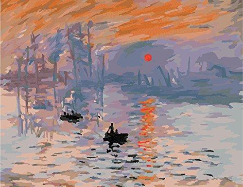 油絵DIY 数字キットによる絵画 世界的に有名な油絵 モネ作『印象、日の出』 〔並行輸入品〕
