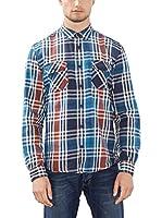 edc by ESPRIT Camisa Hombre (Azul / Rojo)