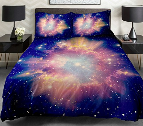 Anlye Purple White Teen Bedding Set 2 Sides Printing Out Space Quilt Coverlet Out Space Flat Sheet With 2 Throw Pillow Covers Queen front-781473