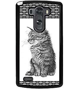 ColourCraft Cute Cat Design Back Case Cover for LG G3