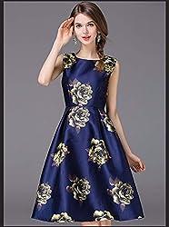 Mahadev Enterprise Ox Blue Retro Floral High Waist Sleeveless Midi Skater Dress ( Semi Stitched )