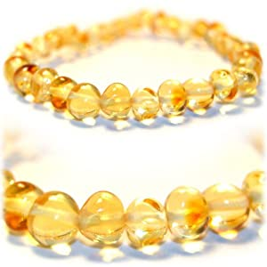 The Art of Cure™ Baltic Amber Baby Teething (Lemon) Bracelet 5.5in-Certified Baltic Amber Baby Teething Bracelet Highest Quality Guaranteed- Anti Flammatory, Drooling & Teething Pain. Easy to Fastens with a Twist-in Screw Clasp Mothers Approved Remedies!