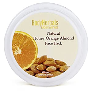 BodyHerbals Skin Brightening Face Pack, 100% Natural Honey Orange Almond (100g)