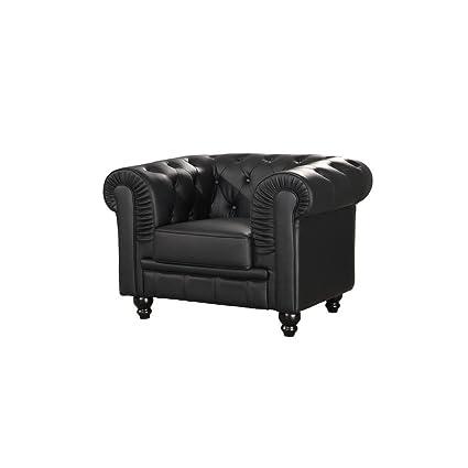 Sofa Chester 1 plaza semi piel - MSD15184221 - Negro