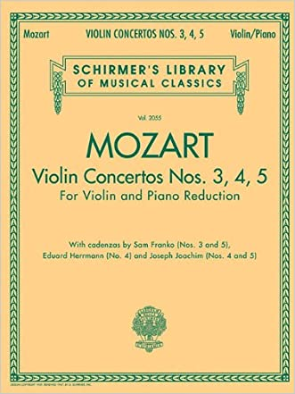 Violin Concertos Nos. 3, 4, 5: for Violin and Piano Reduction written by Wolfgang Amadeus Mozart