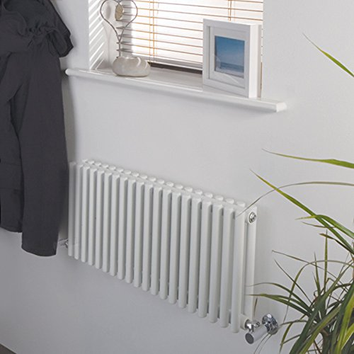 "Hudson Reed Nahb0047 - Luxury White Horizontal Designer Radiator Heater With Minimalist Valves - Mild Steel - 12"" X 30"" - 512 Watts - Compact Design - Modern Hydronic Warmer - Brackets Included"
