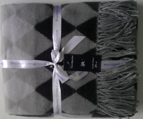 """Northpoint Home Collection, Argyle Acrylic Fleece, Saville Throw, 50"""" X 60"""" (Charcoal) front-896525"""