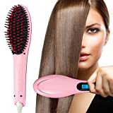 Hair Straightener,PrettyQueen Professional Detangling Hair Brush Hair Styling Comb Digital Anti Static Anti-Scald Ceramic Heating Iron Pink Hair Massage Straightening Irons Pink