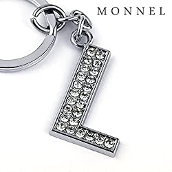 Z295 Bling Crystal Alphabet Initial DIY Letter L Keychain Key Ring for Pet Dog Cat Collar from monnelF