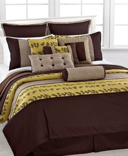 Epic  pc Adele Yellow Brown Bed in a Bag Comforter set Queen