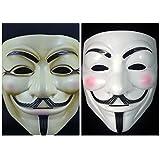 2 Pcs Halloween V for Vendetta Mask Guy Fawkes Mask Anonymous Rubie's DC Comics