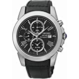 Seiko Men's Grand Sport, Stainless Steel, Black Dial, Leather SSC193P2