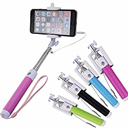 Aux selfie stick,Selfie Stick All-in-One Design Wired Self-portrait Monopod Selfie Stick Shutter with Adjustable Phone Holder for ALL Apple iPhone Samsung Note 4 HTC Sony Android.